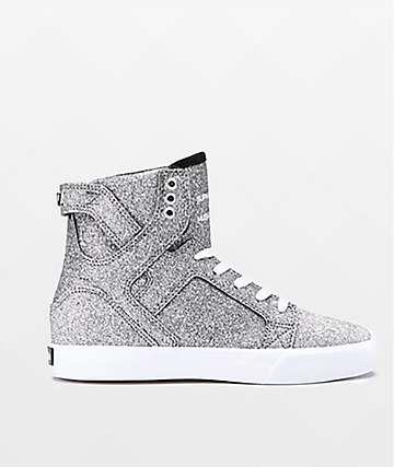 Supra Boys Skytop Hologram & White Skate Shoes