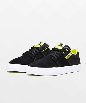 Supra Boys Stacks II Vulc Black & Lime Green Skate Shoes