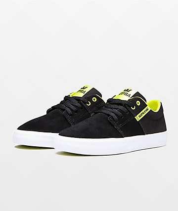 Supra Boys Stacks II Vulc Black & Lime Green Skate Shoes