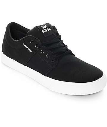 Supra Boys Stacks II Vulc Black & White Canvas Skate Shoes
