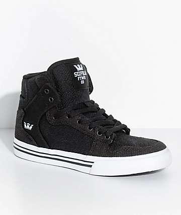 Supra Boys Vaider Black, Black & White Skate Shoes