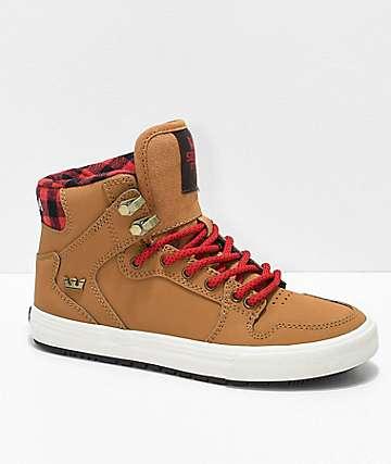 Supra Boys Vaider CW Bone Brown & Plaid Shoes