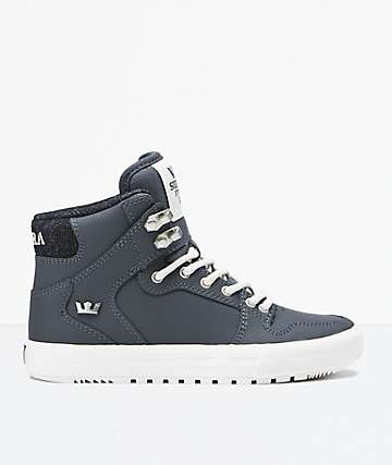 Supra Boys Vaider Cold Weather Grey & White Shoes