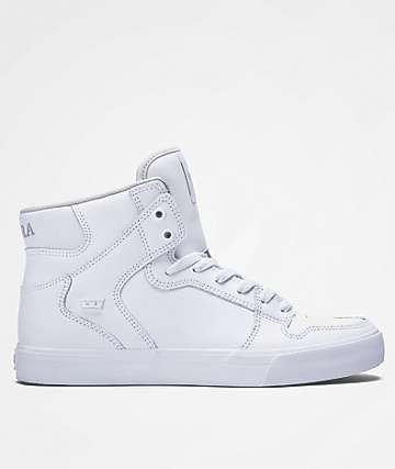 Supra Boys Vaider White & White Leather Shoes