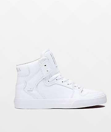 Supra Boys Vaider White Skate Shoes