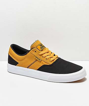 Supra Cobalt Black, Gold & White Skate Shoes