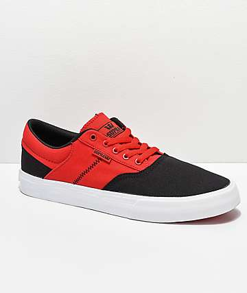 Supra Cobalt Black, Risk Red & White Skate Shoes