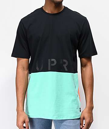 Supra Color Block Black, Blue & Orange T-Shirt