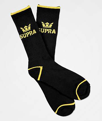 Supra Crown Black & Gold Crew Socks