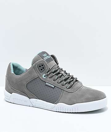 Supra Ellington Grey, Aqua & White Skate Shoes