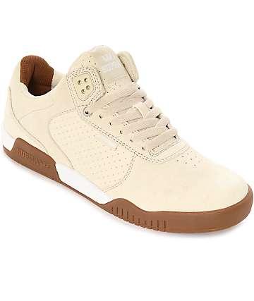 Supra Ellington Off-White & Gum Suede Skate Shoes