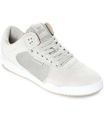 Supra Ellington Off White & Light Grey Skate Shoes