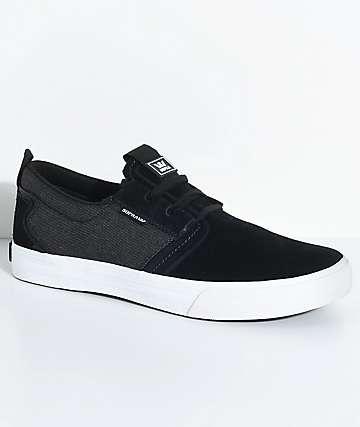 Supra Flow Black, White Suede & Denim Skate Shoes