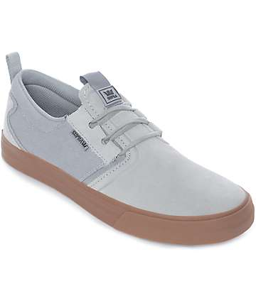 Supra Flow Grey & Gum Suede Skate Shoes