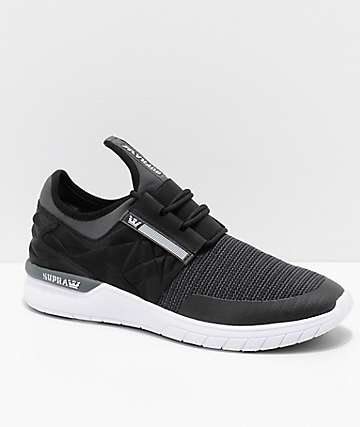 Supra Flow Run EVO zapatos de punto en negro y blanco