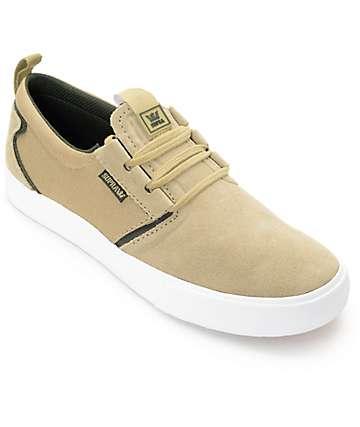 Supra Flow zapatos de skate de gamuza en caqui, olivo y blanco