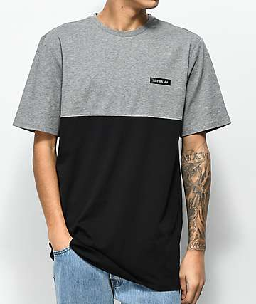 Supra Heather Grey & Black Colorblock T-Shirt
