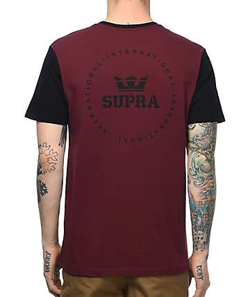 Supra International Seal Two Toned Burgundy & Black T-Shirt