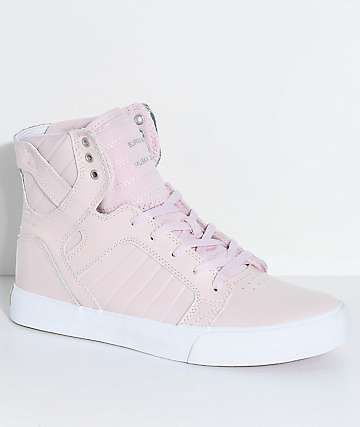 Supra Kids Skytop Mauve Leather Skate Shoes
