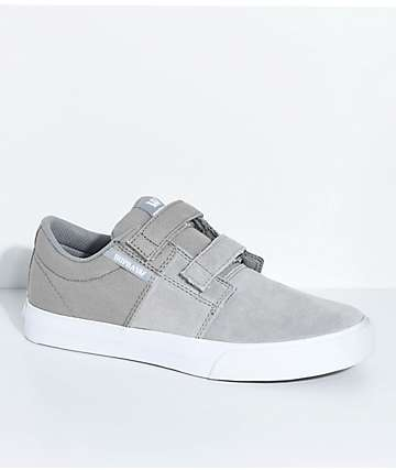 Supra Kids Stacks II Grey, White, Hook & Loop Fastened Skate Shoes