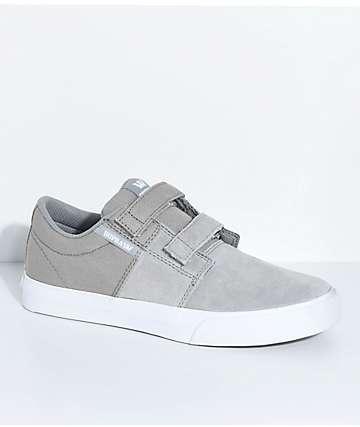 Supra Kids Stacks II Grey, White, Hook & Loop Fastened Skate Shoes