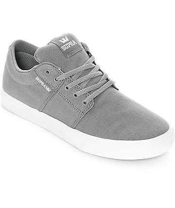 Supra Kids Stacks II Vulc Grey & White Canvas Skate Shoes
