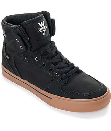 Supra Kids Vaider Black & Gum Canvas Skate Shoes