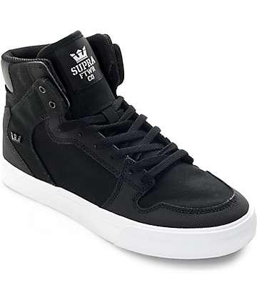 Supra Kids Vaider Black & White Canvas Skate Shoes