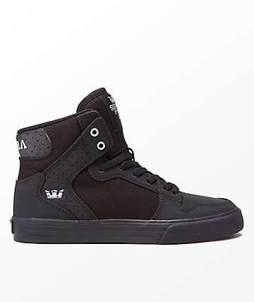 Supra Kids Vaider Black & Silver Black Skate Shoes
