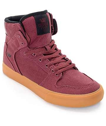 Supra Kids Vaider Burgundy & Gum Skate Shoes