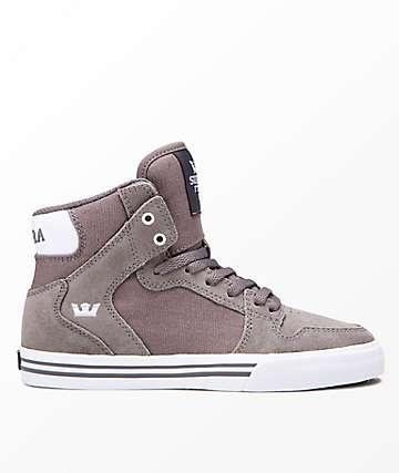 Supra Kids Vaider Charcoal & White Skate Shoes