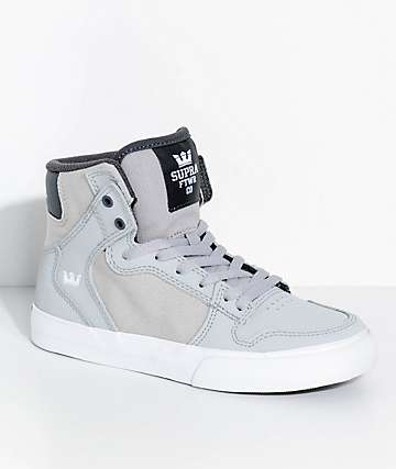 Supra Kids Vaider Grey & White Skate Shoes