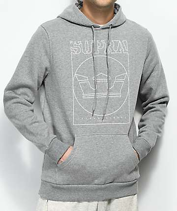 Supra Lines Heather Grey Hoodie