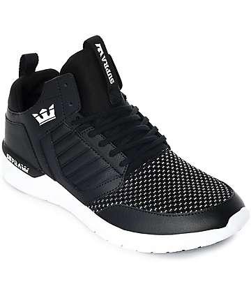 Supra Method zapatos de cuero y malla en blanco y negro