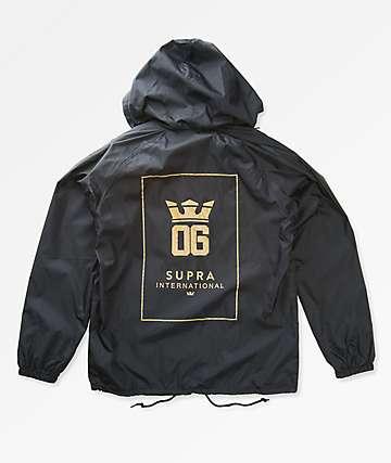 Supra OG International Black Hooded Coaches Jacket