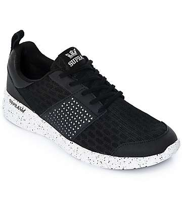 Supra Scissor Black & White Speckled Mesh & Nubuck Shoes