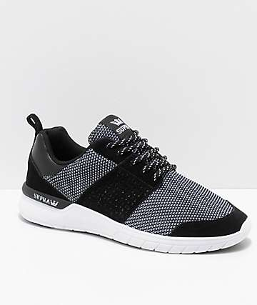 Supra Scissor zapatos de punto y ante en negro y blanco