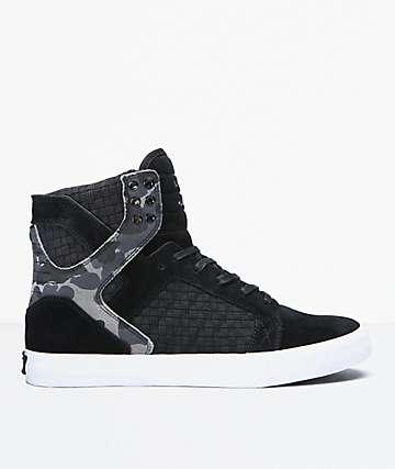 Supra Skytop Black, Camo & White Shoes