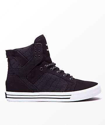 Supra Skytop Black, Dark Grey & White Shoes