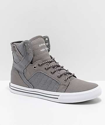 79c6fb71bec9 Supra Skytop Charcoal   White Woven Canvas Skate Shoes
