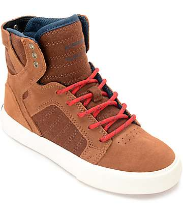 Supra Skytop Munk & Red Suede Kids Shoes