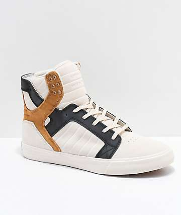 Supra Skytop Premium Bone, Black & Tan Skate Shoes