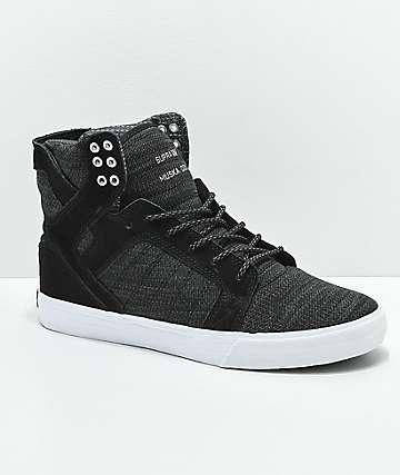 Supra Skytop Reflective Black & Charcoal Skate Shoes