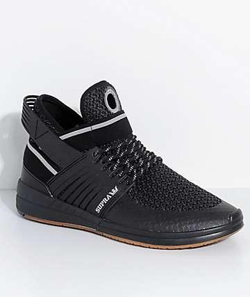 Supra Skytop V Black, Silver & Gum Knit Skate Shoes
