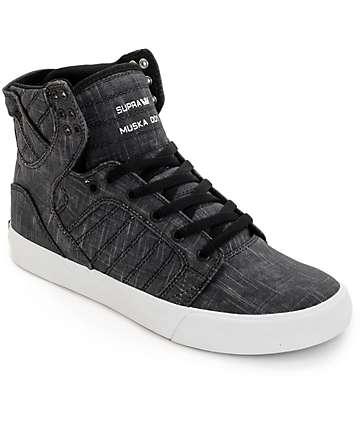 Supra Skytop Washed Black Canvas Skate Shoes
