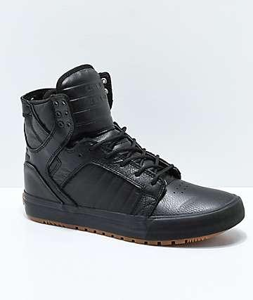 Supra Skytop zapatos negros de cuero y goma