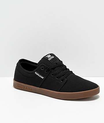 Supra Stacks II Black & Gum Canvas Skate Shoes