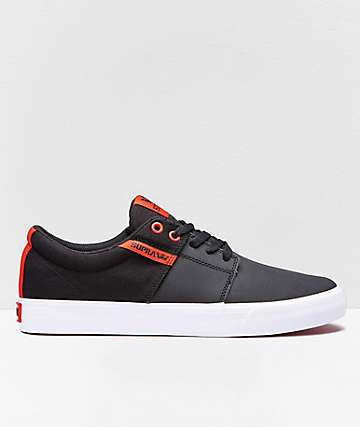 Supra Stacks II Vulc Black & Risk Red Skate Shoes