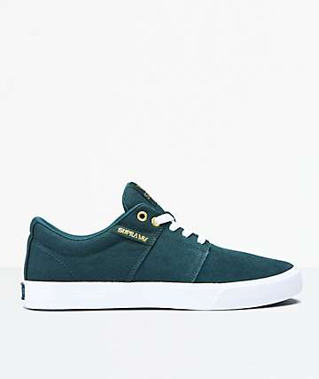 Supra Stacks II Vulc Evergeen & White Skate Shoes