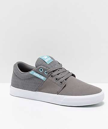 Supra Stacks II Vulc Grey, Aquifer, White, Canvas & Woven Textile Skate Shoes